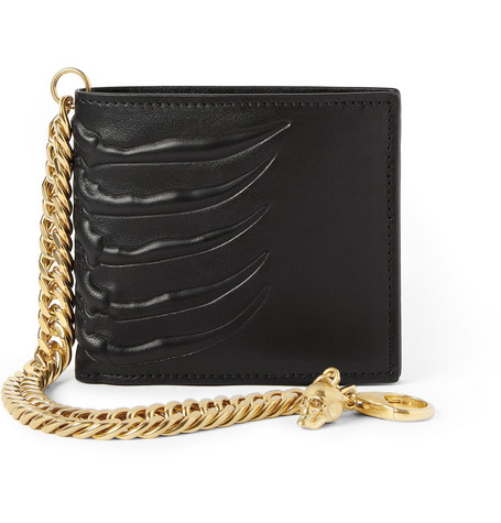 Alexander McQueen Embossed-Leather Chain Wallet