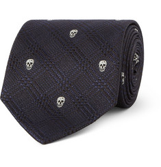 Alexander McQueen Skull-Embroidered Prince of Wales Check Silk Tie