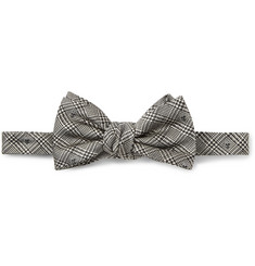 Alexander McQueen Skull-Embroidered Prince of Wales Check Silk Bow Tie