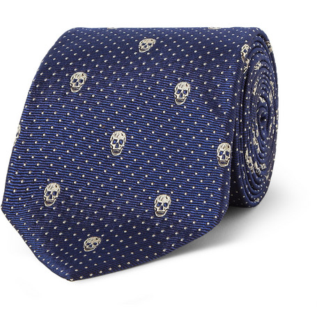 Alexander McQueenSkull-Embroidered Silk Tie