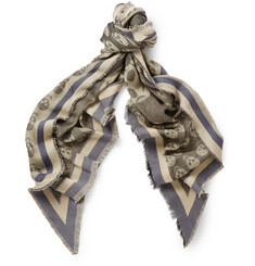 Alexander McQueen Jacquard Skull Cotton, Modal and Cashmere-Blend Triangle Scarf