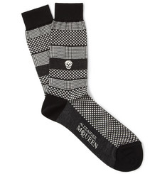 Alexander McQueen Patterned Cotton-Blend Socks