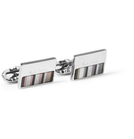 Paul Smith Shoes & Accessories Striped Mother-of-Pearl and Metal Cufflinks