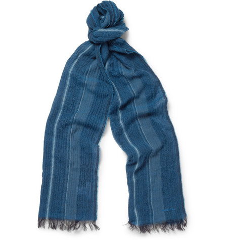 Paul Smith Shoes & Accessories Striped Woven Cashmere and Cotton-Blend Scarf