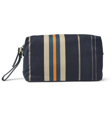 Paul Smith Shoes & Accessories Leather-Trimmed Striped Canvas Wash Bag