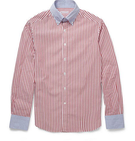 Michael Bastian Slim-Fit Contrast-Collar Cotton Shirt