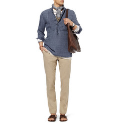 Michael Bastian Check Half-Placket Linen Shirt