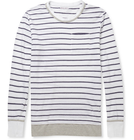 Michael Bastian Striped Cotton and Linen-Blend T-Shirt