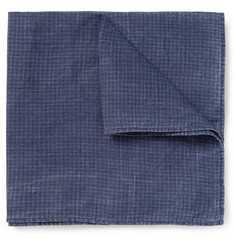 Michael Bastian Check-Print Linen Pocket Square
