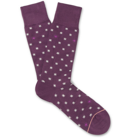 Paul Smith Shoes & Accessories Star-Patterned Cotton-Blend Socks