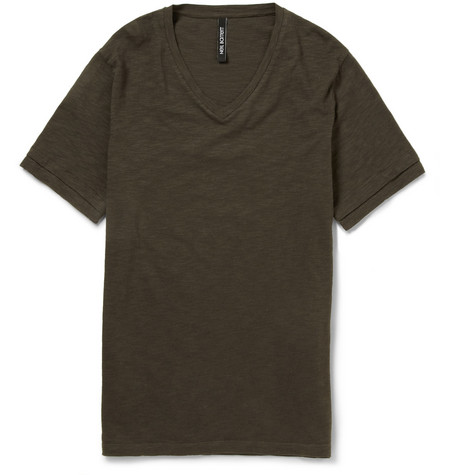 Neil Barrett V-Neck Slub Cotton T-Shirt