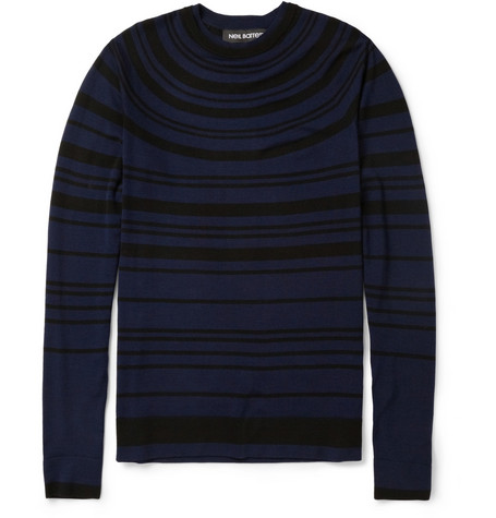 Neil Barrett Striped Fine-Knit Merino Wool Sweater