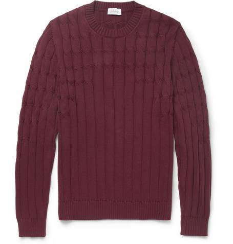 Brioni Cable and Rib Knit Cotton Sweater