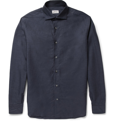 Brioni Linen and Cotton-Blend Shirt
