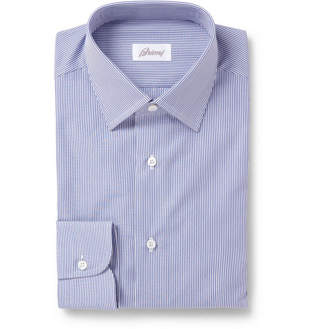 Brioni Blue Slim-Fit Striped Cotton Shirt