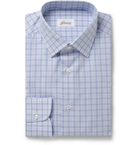 Brioni Blue Slim-Fit Check Cotton Shirt