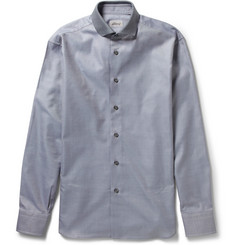 Brioni Contrast-Collar Cotton-Poplin Shirt