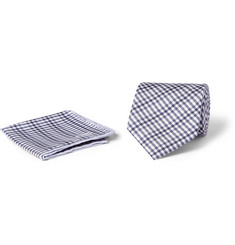 Brioni Gingham Check Silk Tie and Pocket Square Set