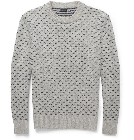 J.Crew Birdseye Fair Isle Wool Sweater