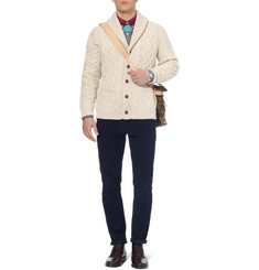 J.Crew Cable-Knit Wool-Blend Shawl Collar Cardigan