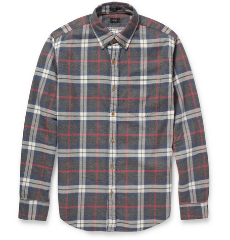 J.Crew Plaid Button-Down Collar Brushed-Cotton Shirt