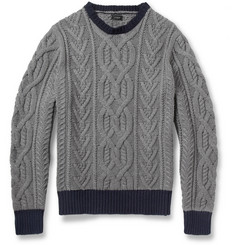 J.Crew Cable-Knit Crew Neck Cotton Sweater