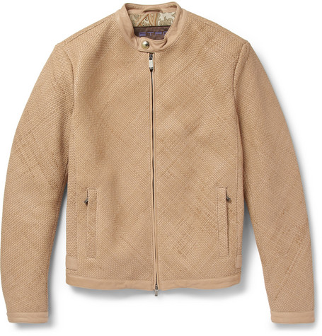 Etro Woven-Leather Silk-Lined Bomber Jacket