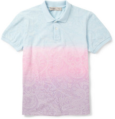 Etro Printed Dyed Cotton-Piqué Polo Shirt