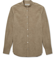 Etro Slim-Fit Grandad-Collar Faux-Suede Shirt