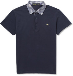 Etro Paisley-Collar Cotton-Piqué Polo Shirt