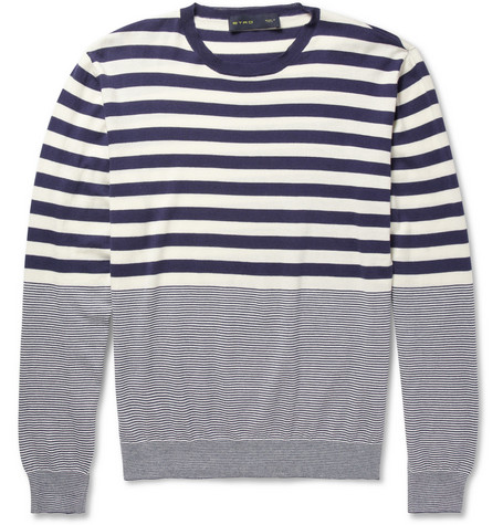 Etro Striped Cotton and Cashmere-Blend Sweater