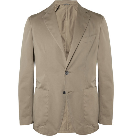 Canali Slim-Fit Unstructured Cotton-Satin Blazer