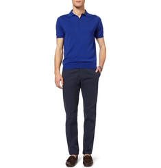 Canali Knitted Cotton Polo Shirt