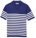 Canali Striped Knitted Cotton Polo Shirt