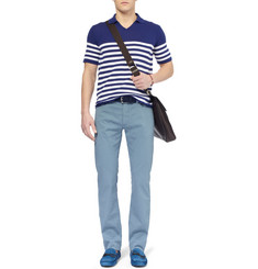 Canali Striped Cotton Polo Shirt