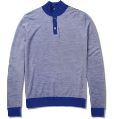Canali Elbow Patch Knitted Wool Sweater