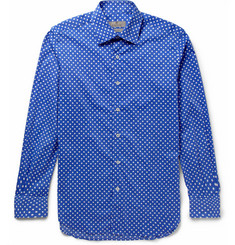 Canali Polka Dot-Print Cotton-Blend Shirt