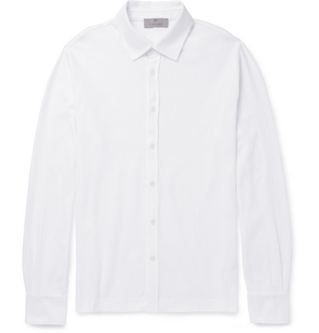 Canali Slim-Fit Herringbone Cotton Shirt