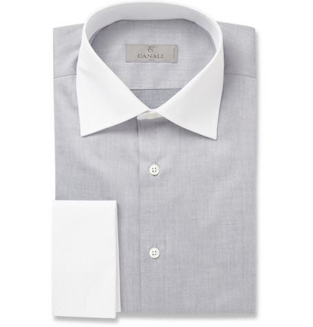 Canali Grey Contrast-Collar Cotton Shirt