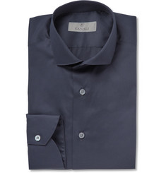 Canali Navy Spread-Collar Cotton-Poplin Shirt
