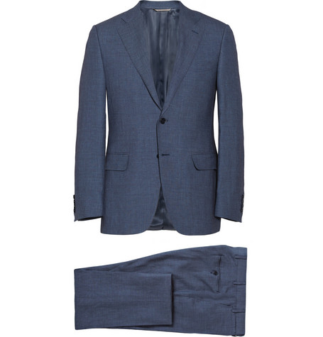 Canali Navy Linen and Wool-Blend Suit