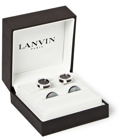 Lanvin Rhodium-Plated Mother of Pearl and Galaxy Stone Cufflinks