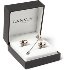 Lanvin Rose Gold-Faced Cufflink and Lapel Pin Set