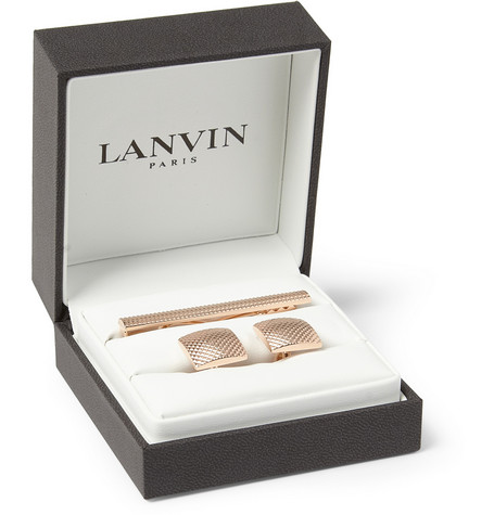 Lanvin Engraved Rose Gold Cufflink and Tie Clip Set