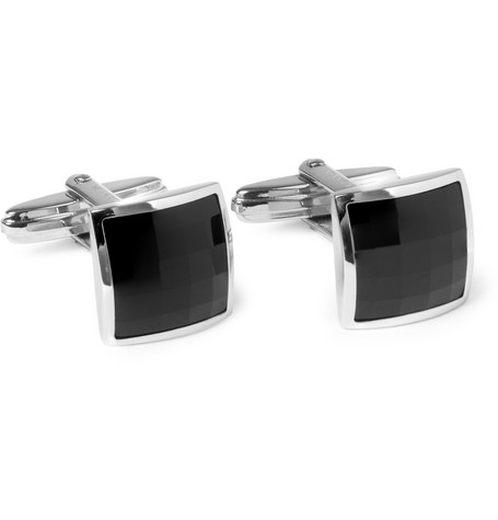 Lanvin Crystal and Sterling Silver Cufflinks