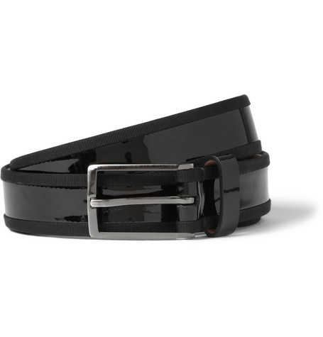 Lanvin Black 3cm Grosgrain-Trimmed Leather Belt