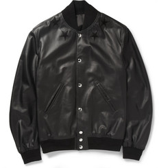Givenchy Leather Embroided Star Baseball Jacket