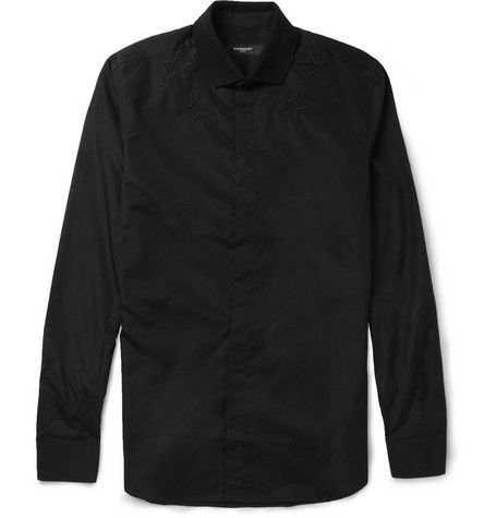 Givenchy Slim-Fit Star-Appliquéd Cotton Shirt