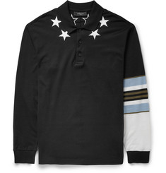 Givenchy Star-Trim Contrast-Collar Polo Shirt