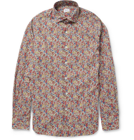 Incotex Glanshirt Slim-Fit Flower-Print Cotton Shirt